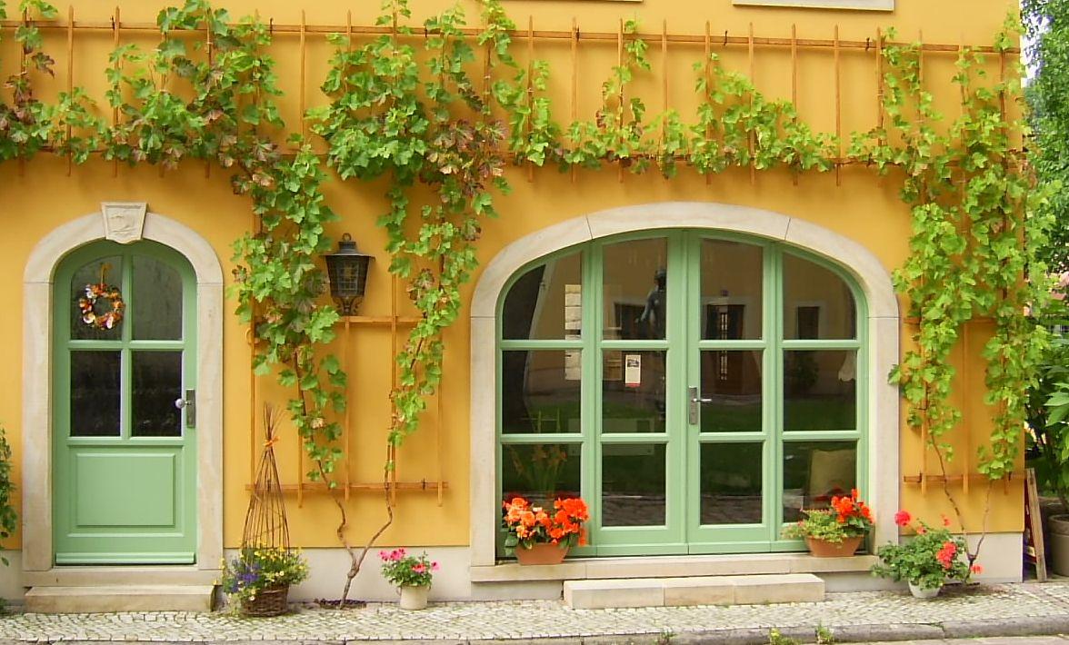 Fassade Gelb harmonische farbgestaltung bewachsene fassade